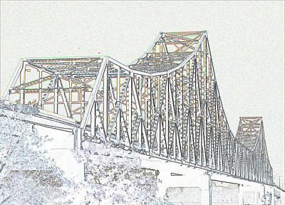 Photograph - Martin Luther King Bridge Line Art - Color by David Coblitz