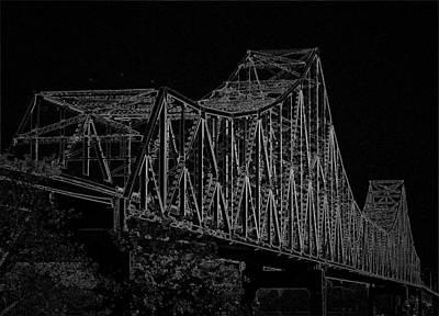 Digital Art - Martin Luther King Bridge Line Art Negative Bw by David Coblitz