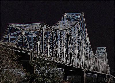 Photograph - Martin Luther King Bridge Line Art Negative by David Coblitz