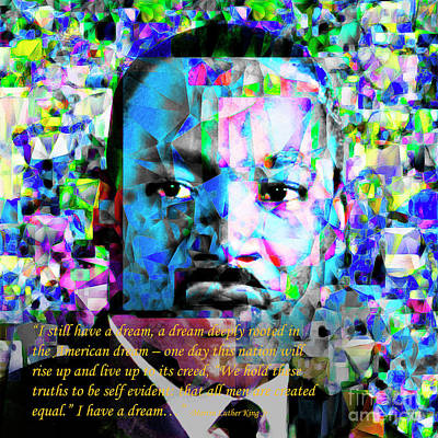 Martin Luther King Jr In Abstract Cubism 20170401 Text Art Print by Wingsdomain Art and Photography