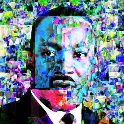 Martin Luther King Jr In Abstract Cubism 20170401 Art Print by Wingsdomain Art and Photography