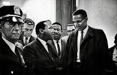 Historical Speech Digital Art - Martin Luther King Jr. Meets Malcolm X Painting In Hd by Jovemini ART