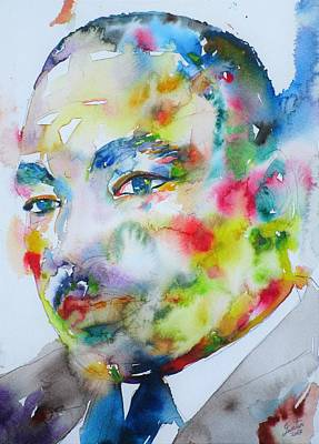 Painting - Martin Luther King Jr. - Watercolor Portrait.4 by Fabrizio Cassetta