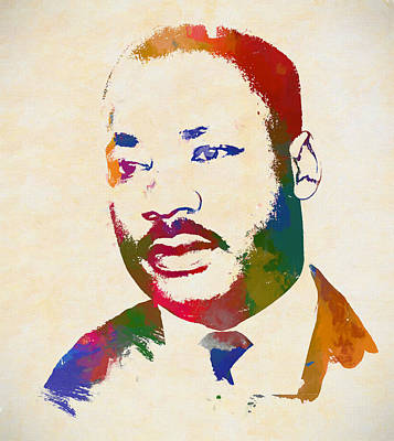 I Have A Dream Wall Art - Painting - Martin Luther King Watercolor by Dan Sproul