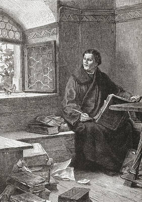 Theology Drawing - Martin Luther Translating The Bible At by Vintage Design Pics