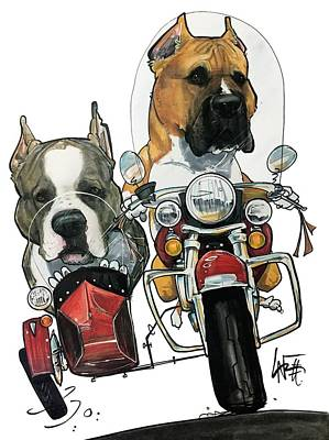 Pitbull Drawing - Martinez 3937 by John LaFree