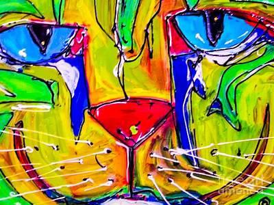 Martini Paintings - Martini Cat by Paula Baker