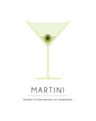Cocktails Mixed Media - Martini Classic Cocktail - Minimalist Print by Studio Grafiikka