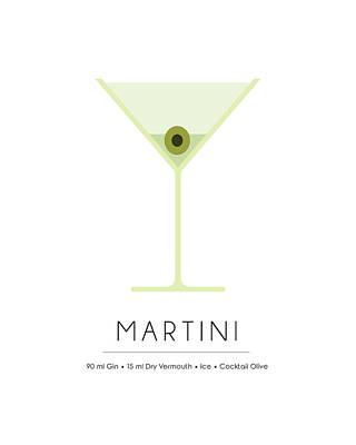Martini Mixed Media - Martini Classic Cocktail - Minimalist Print by Studio Grafiikka