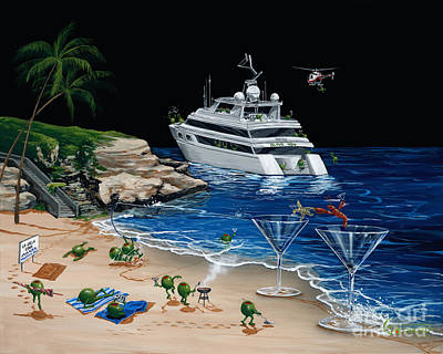 Helicopter Painting - Martini Cove La Jolla by Michael Godard