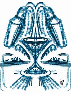 Martini Fountain Art Print by Russell Pierce