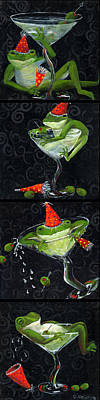 Martini Frogs Art Print by Debbie McCulley
