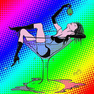 Martini Digital Art - Martini Girl by Cindy Higby