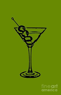 Martini Drawing - Martini Glass Tee by Edward Fielding