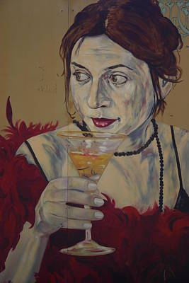 Martini Lady Art Print by Dennis Curry
