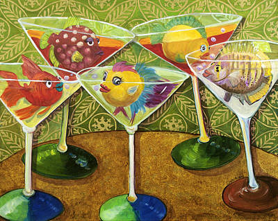 Night Out Painting - Martini Madness by Linda Kegley