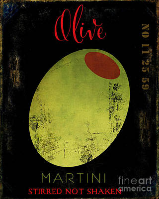 Martini Royalty-Free and Rights-Managed Images - Martini Olive by Mindy Sommers