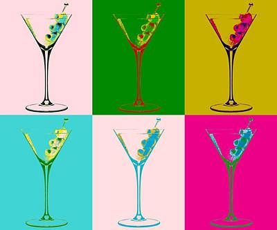 Martini Digital Art - Martini Pop Art Panels by Dan Sproul
