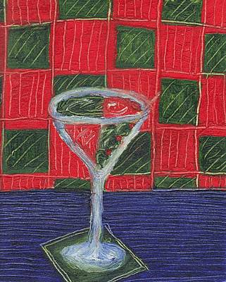 Martini Paintings - Martini with Green Olives by Jen Lynn Arnold