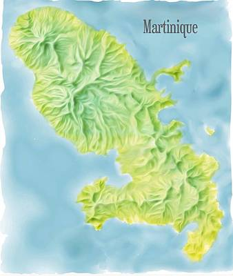 Relief Map Digital Art - Martinique Island Map by Steven Gordon