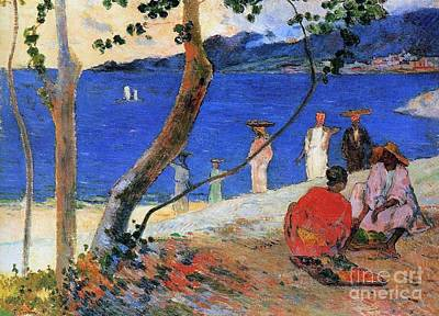 Tree Leaf On Water Painting - Martinique Island by Paul Gauguin