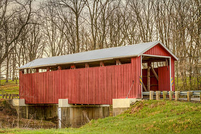 Music Royalty-Free and Rights-Managed Images - Martinsville Covered Bridge by Jack R Perry