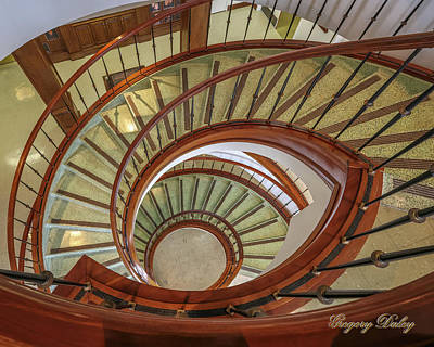 Photograph - Marttin Hall Spiral Stairway by Gregory Daley  PPSA