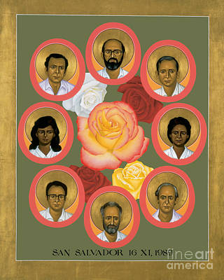 Holy Trinity Icon Painting - Martyrs Of The Jesuit University - Rlmju by Br Robert Lentz OFM