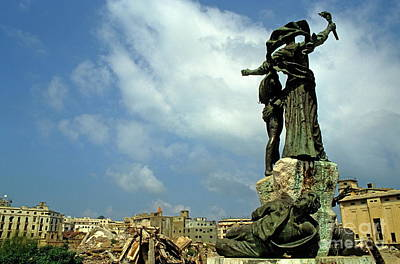 Martyr's Statues In Beirut Art Print by Sami Sarkis