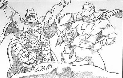 Thor Drawing - Thor Vs Superman Pt 2 by Scott Davis