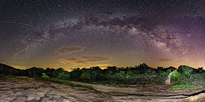 Photograph - Marveling At The Creation Of God - Milky Way Panorama At Enchanted Rock - Texas Hill Country by Silvio Ligutti