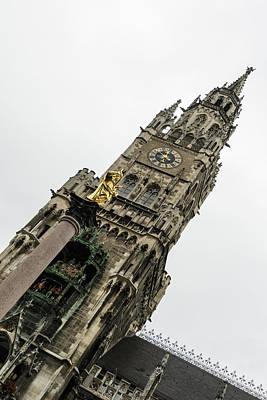 Photograph - Marvelous Munich - Mariensaule Saint Marys Column And The New City Hall by Georgia Mizuleva