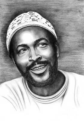 Soul Singer Drawing - Marvin Gaye by Margaret Sanderson