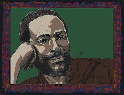 Rhythm And Blues Drawing - Marvin Gaye  by Suzanne Gee