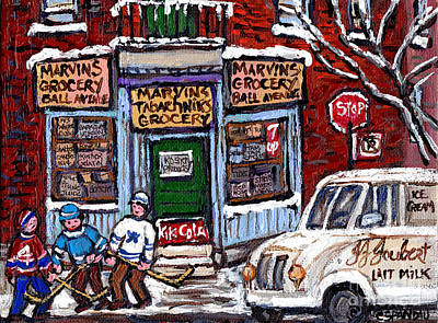 Montreal Neighborhoods Painting - Marvins And Tabachnicks Grocery With J J Joubert Milk Truck Ball Ave Park Ex Montreal Memories Art by Carole Spandau