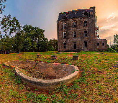 Photograph - Mary Allen Seminary Sunset Southern View With Water Feature Wide Angle by Micah Goff
