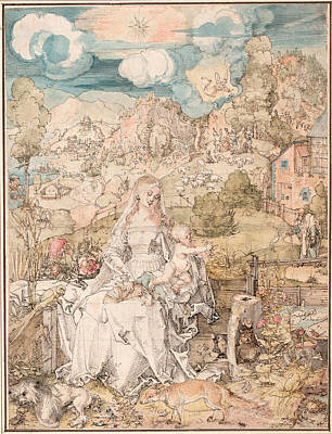 Duerer Drawing - Mary Among A Multitude Of Animals by Albrecht Duerer