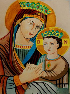Madaba Painting - Mary And A Young Jesus by Betty-Anne McDonald