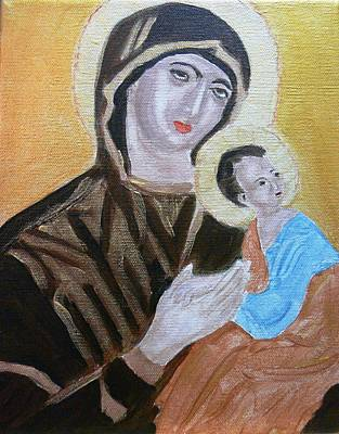 Painting - Mary And Baby Jesus by Cathy Jourdan