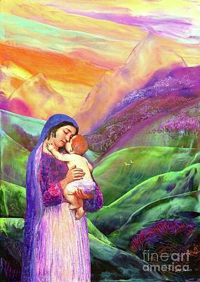 Surrealism Royalty Free Images - Mary and Baby Jesus Gift of Love Royalty-Free Image by Jane Small