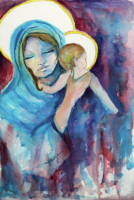 Mary And Baby Jesus Art Print by Mary DuCharme