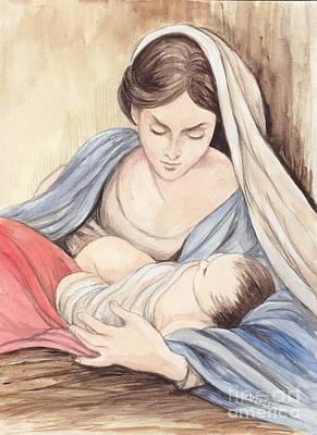 Mary And Child Art Print by Morgan Fitzsimons