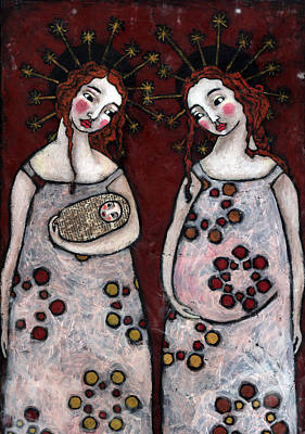 Christian Art . Devotional Art Painting - Mary And Elizabeth 2 by Julie-ann Bowden