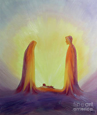 With Scripture Painting - Mary And Joseph Look With Faith On The Child Jesus At His Nativity by Elizabeth Wang
