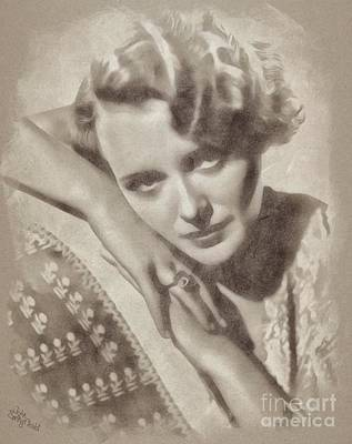 Musicians Drawings Rights Managed Images - Mary Astor, Vintage Actress Royalty-Free Image by Esoterica Art Agency