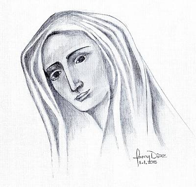 Mary Mother Of God Drawing - Mary by Fanny Diaz