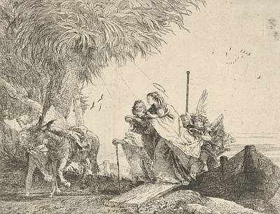 Relief - Mary, Helped By Joseph And An Angel, Stepping From A Boat To The Shore by Giovanni Domenico Tiepolo