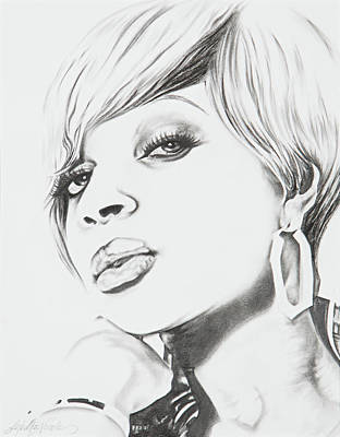 Drawing - Mary J. Blige by Jeleata Nicole