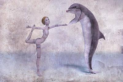 Mary Jane And The Dolphin 101f Betsy Knapp Art Print