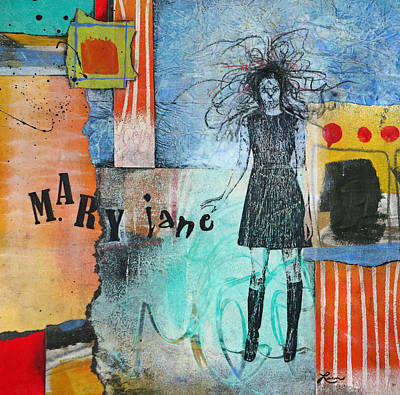 Orange Mixed Media - Mary Jane by Laura  Lein-Svencner